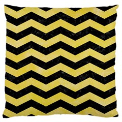 Chevron3 Black Marble & Yellow Watercolor Standard Flano Cushion Case (two Sides)