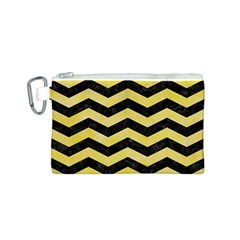 Chevron3 Black Marble & Yellow Watercolor Canvas Cosmetic Bag (s)