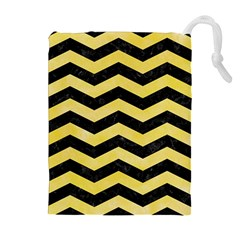 Chevron3 Black Marble & Yellow Watercolor Drawstring Pouches (extra Large)