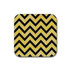 Chevron9 Black Marble & Yellow Watercolor Rubber Square Coaster (4 Pack)