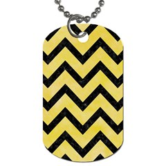 Chevron9 Black Marble & Yellow Watercolor Dog Tag (one Side)