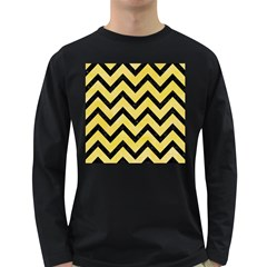 Chevron9 Black Marble & Yellow Watercolor Long Sleeve Dark T Shirts