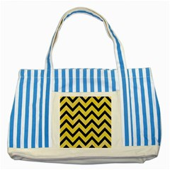 Chevron9 Black Marble & Yellow Watercolor Striped Blue Tote Bag
