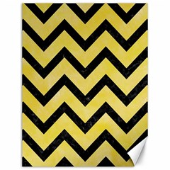 Chevron9 Black Marble & Yellow Watercolor Canvas 12  X 16