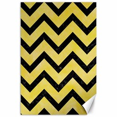 Chevron9 Black Marble & Yellow Watercolor Canvas 24  X 36