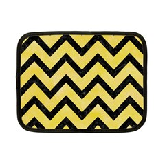 Chevron9 Black Marble & Yellow Watercolor Netbook Case (small)