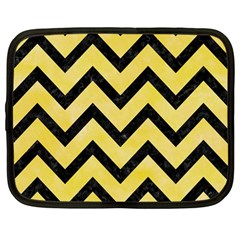 Chevron9 Black Marble & Yellow Watercolor Netbook Case (large)