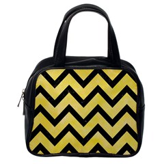 Chevron9 Black Marble & Yellow Watercolor Classic Handbags (one Side)