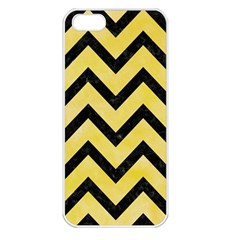 Chevron9 Black Marble & Yellow Watercolor Apple Iphone 5 Seamless Case (white)