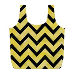 Chevron9 Black Marble & Yellow Watercolor Full Print Recycle Bags (l)