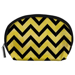 Chevron9 Black Marble & Yellow Watercolor Accessory Pouches (large)