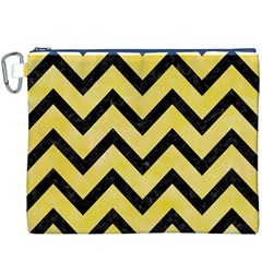 Chevron9 Black Marble & Yellow Watercolor Canvas Cosmetic Bag (xxxl)