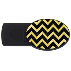 Chevron9 Black Marble & Yellow Watercolor (r) Usb Flash Drive Oval (2 Gb)