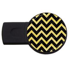 Chevron9 Black Marble & Yellow Watercolor (r) Usb Flash Drive Round (4 Gb)