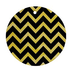 Chevron9 Black Marble & Yellow Watercolor (r) Round Ornament (two Sides)