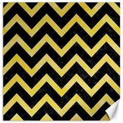 Chevron9 Black Marble & Yellow Watercolor (r) Canvas 20  X 20