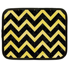 Chevron9 Black Marble & Yellow Watercolor (r) Netbook Case (large)