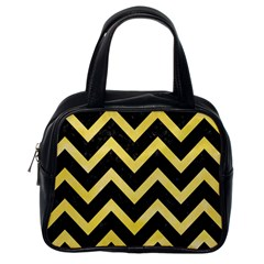 Chevron9 Black Marble & Yellow Watercolor (r) Classic Handbags (one Side)