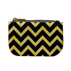 Chevron9 Black Marble & Yellow Watercolor (r) Mini Coin Purses