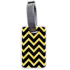 Chevron9 Black Marble & Yellow Watercolor (r) Luggage Tags (one Side)