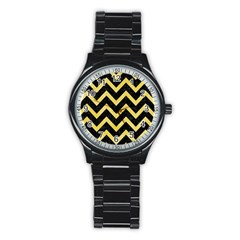 Chevron9 Black Marble & Yellow Watercolor (r) Stainless Steel Round Watch