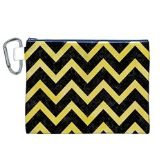 Chevron9 Black Marble & Yellow Watercolor (r) Canvas Cosmetic Bag (xl)