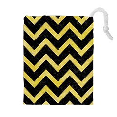 Chevron9 Black Marble & Yellow Watercolor (r) Drawstring Pouches (extra Large)