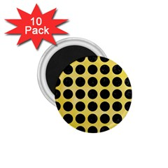 Circles1 Black Marble & Yellow Watercolor 1 75  Magnets (10 Pack)