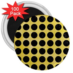 Circles1 Black Marble & Yellow Watercolor 3  Magnets (100 Pack)