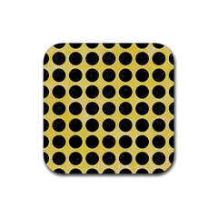 Circles1 Black Marble & Yellow Watercolor Rubber Square Coaster (4 Pack)