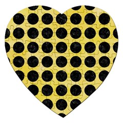 Circles1 Black Marble & Yellow Watercolor Jigsaw Puzzle (heart)