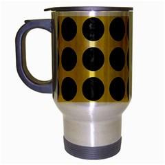Circles1 Black Marble & Yellow Watercolor Travel Mug (silver Gray)