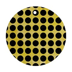 Circles1 Black Marble & Yellow Watercolor Round Ornament (two Sides)