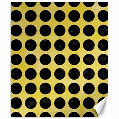 Circles1 Black Marble & Yellow Watercolor Canvas 8  X 10