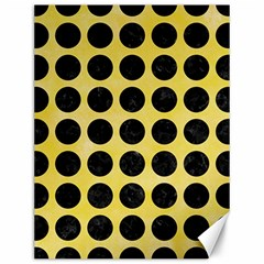 Circles1 Black Marble & Yellow Watercolor Canvas 12  X 16