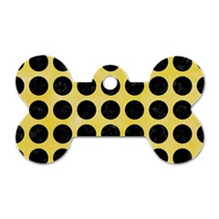 Circles1 Black Marble & Yellow Watercolor Dog Tag Bone (one Side)