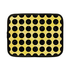 Circles1 Black Marble & Yellow Watercolor Netbook Case (small)