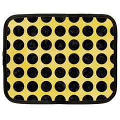 Circles1 Black Marble & Yellow Watercolor Netbook Case (xl)