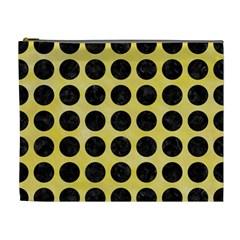 Circles1 Black Marble & Yellow Watercolor Cosmetic Bag (xl)