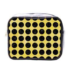 Circles1 Black Marble & Yellow Watercolor Mini Toiletries Bags