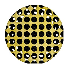 Circles1 Black Marble & Yellow Watercolor Round Filigree Ornament (two Sides)