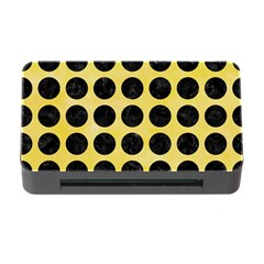 Circles1 Black Marble & Yellow Watercolor Memory Card Reader With Cf