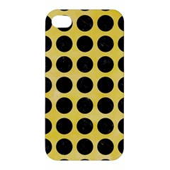 Circles1 Black Marble & Yellow Watercolor Apple Iphone 4/4s Premium Hardshell Case