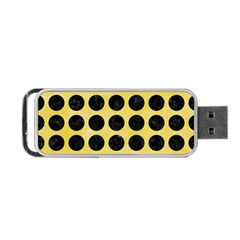 Circles1 Black Marble & Yellow Watercolor Portable Usb Flash (two Sides)