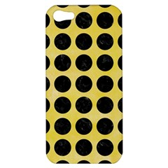 Circles1 Black Marble & Yellow Watercolor Apple Iphone 5 Hardshell Case