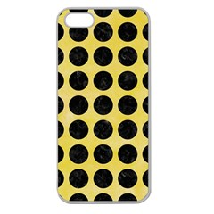 Circles1 Black Marble & Yellow Watercolor Apple Seamless Iphone 5 Case (clear)
