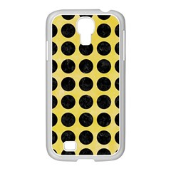 Circles1 Black Marble & Yellow Watercolor Samsung Galaxy S4 I9500/ I9505 Case (white)