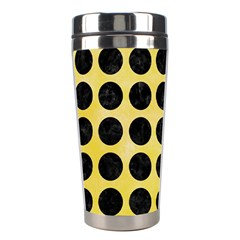 Circles1 Black Marble & Yellow Watercolor Stainless Steel Travel Tumblers