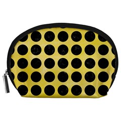 Circles1 Black Marble & Yellow Watercolor Accessory Pouches (large)
