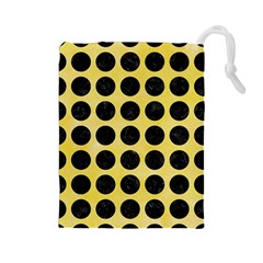 Circles1 Black Marble & Yellow Watercolor Drawstring Pouches (large)